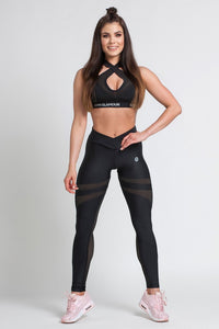 Gym Glamour - Leggings – Black Mesh - Vorderseite