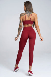Gym Glamour - Seamless Leggings – Burgundy - Rückseite