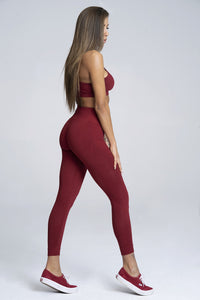 Gym Glamour - Seamless Leggings – Burgundy - Seitlich