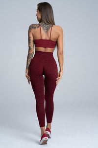 Gym Glamour - Seamless Leggings – Burgundy Melange - Rükseite