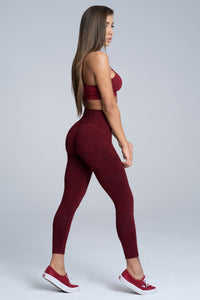 Gym Glamour - Seamless Leggings – Burgundy Melange - Seitlich 2