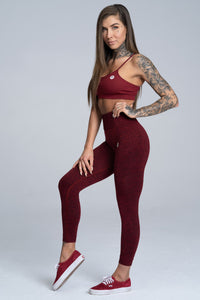 Gym Glamour - Seamless Leggings – Burgundy Melange - Seitlich