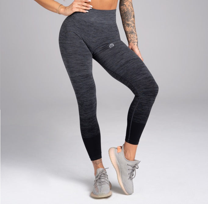 Gym Glamour - Seamless Leggings – Grey Ombre - Vorderseite Detail