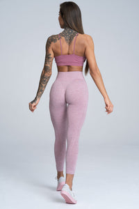 Gym Glamour - Seamless Leggings – Pink Melange - Rückseite