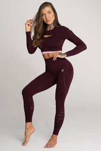 Gym Glamour - Seamless Leggings -Vino Rosso - Vorderseite 1