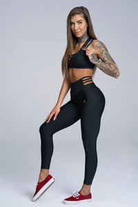 Gym Glamour - String Waist Leggings – Black - Seitlich 2