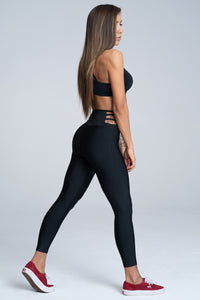 Gym Glamour - String Waist Leggings – Black - Seitlich