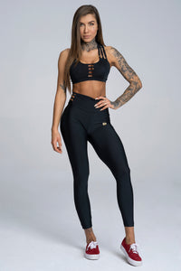 Gym Glamour - String Waist Leggings – Black - Vorderseite