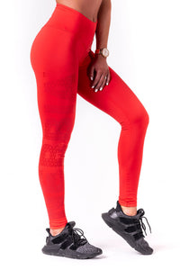 Nebbia - One Tone Pattern Leggings - Red (677) - Seitlich