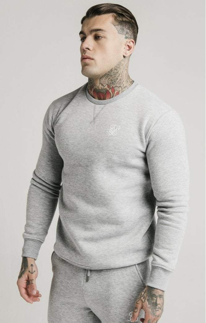 SikSilk - Crew Sweat - Grey Marl
