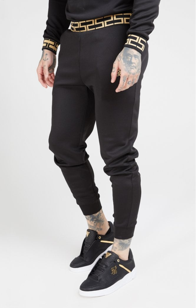 SikSilk - Cuffed Chain Rib Pants - Black & Gold