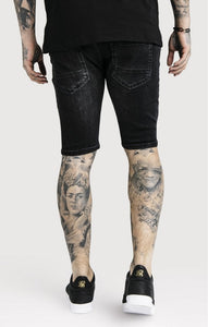 SikSilk - Distressed Skinny Shorts – Washed Black