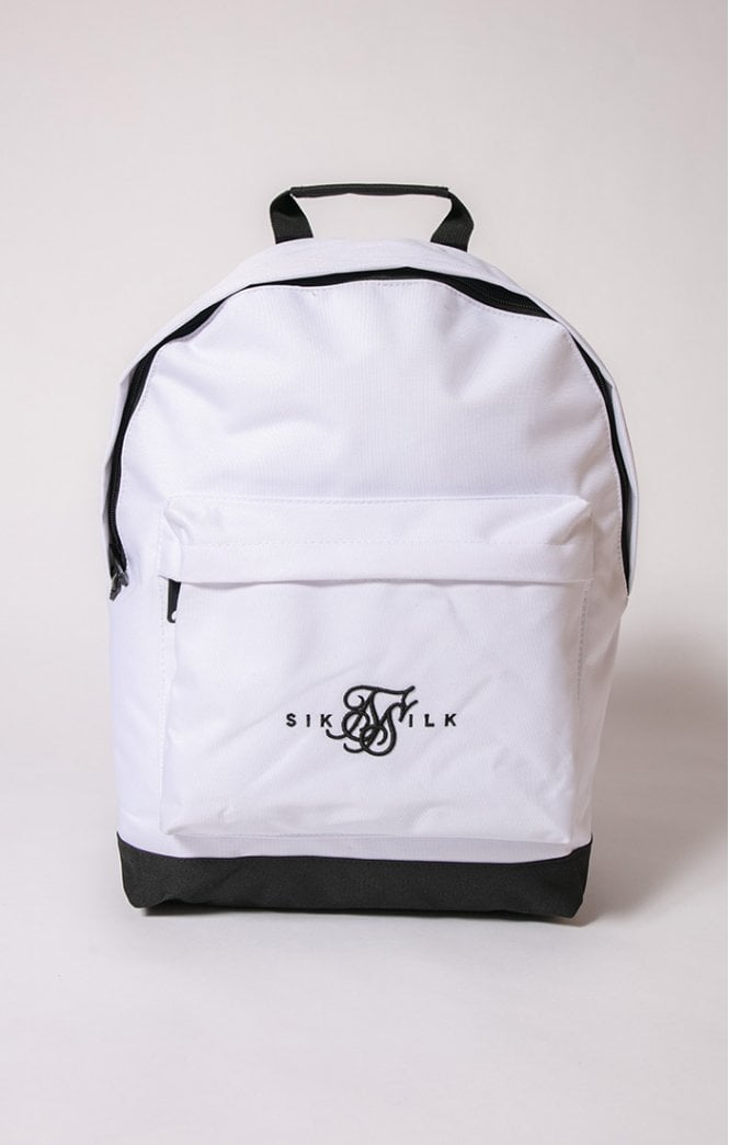 SikSilk - Dual Logo Backpack - White & Black