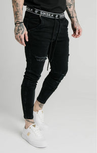 SikSilk - Elasticated Waist Skinny Distressed Denim – Black