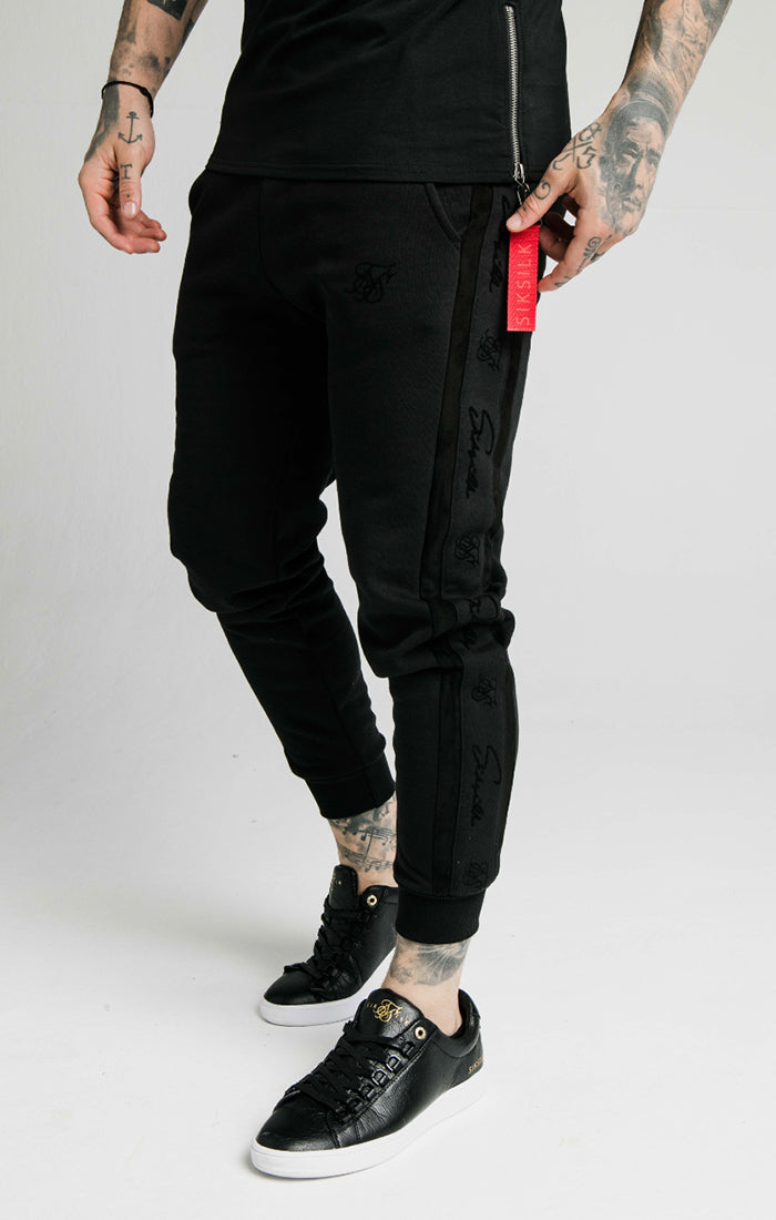 SikSilk - Fitted Suede Flock Cuff Pants - Black