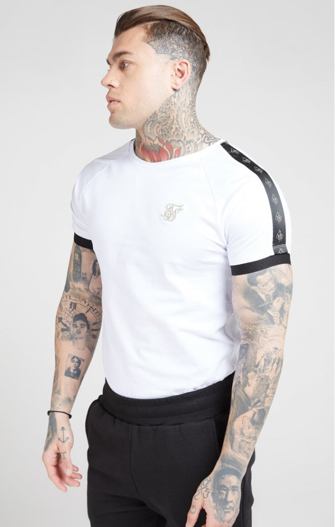 SikSilk - Raglan Tech Tee – White & Black