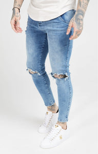 SikSilk - Skinny Distressed Slice Knee Denims - Midstone Blue