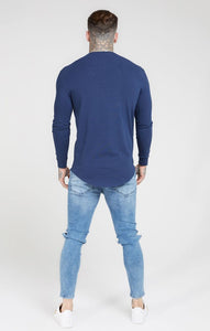 SikSilk - Core Gym Longsleeve Tee - Navy Blue