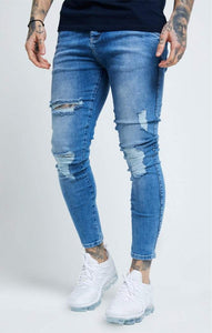 SikSilk - Distressed Skinny Denims - Mid Wash