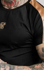 SikSilk -  Inset Cuff Tech Tee - Black & Gold