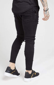 SikSilk - Skinny Oil Patch Denims – Black