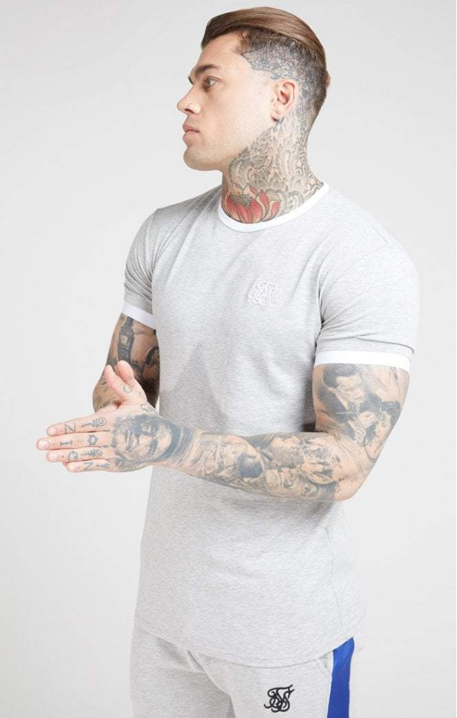SikSilk - Inset Straight Hem Ringer Gym Tee – Grey Marl & White