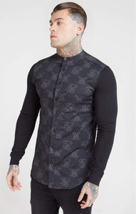 SikSilk - Muscle Fit Oxford Cotton Shirt - Black
