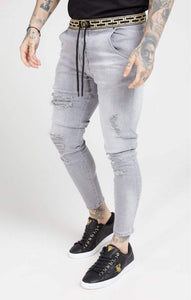 SikSilk - Elasticated Waist Skinny Distressed Denim – Washed Grey