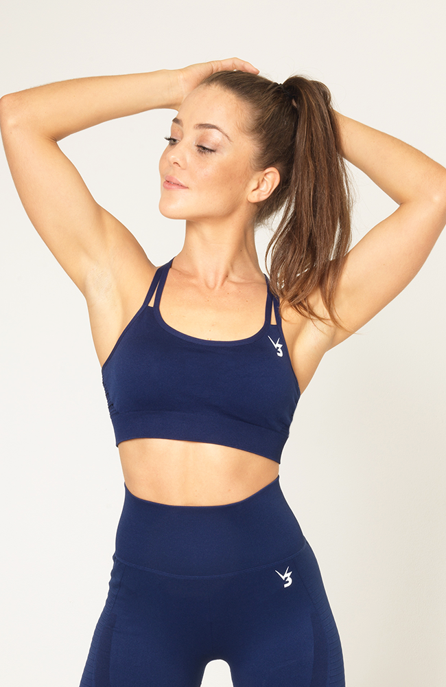 V3 Apparel - Contour Seamless Sports Bra - Navy Blue - Vorderseite 1