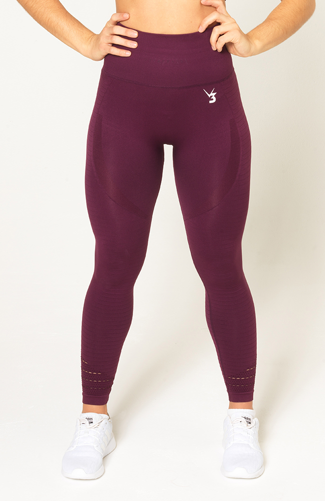 V3 Apparel - Contour Seamless Leggings - Wine Red - Vorderseite