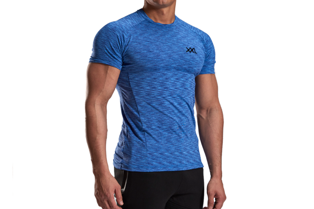 XXL Nutrition - Stretch Shirt - Blue - Vorderseite Detail