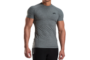 XXL Nutrition - Stretch Shirt - Grey - Vorderseite Detail