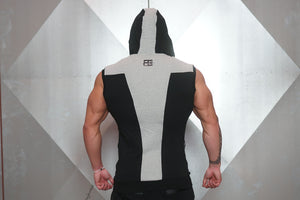 YUREI Sleeveless Vest – Black & Light Grey Accents - Rückseite