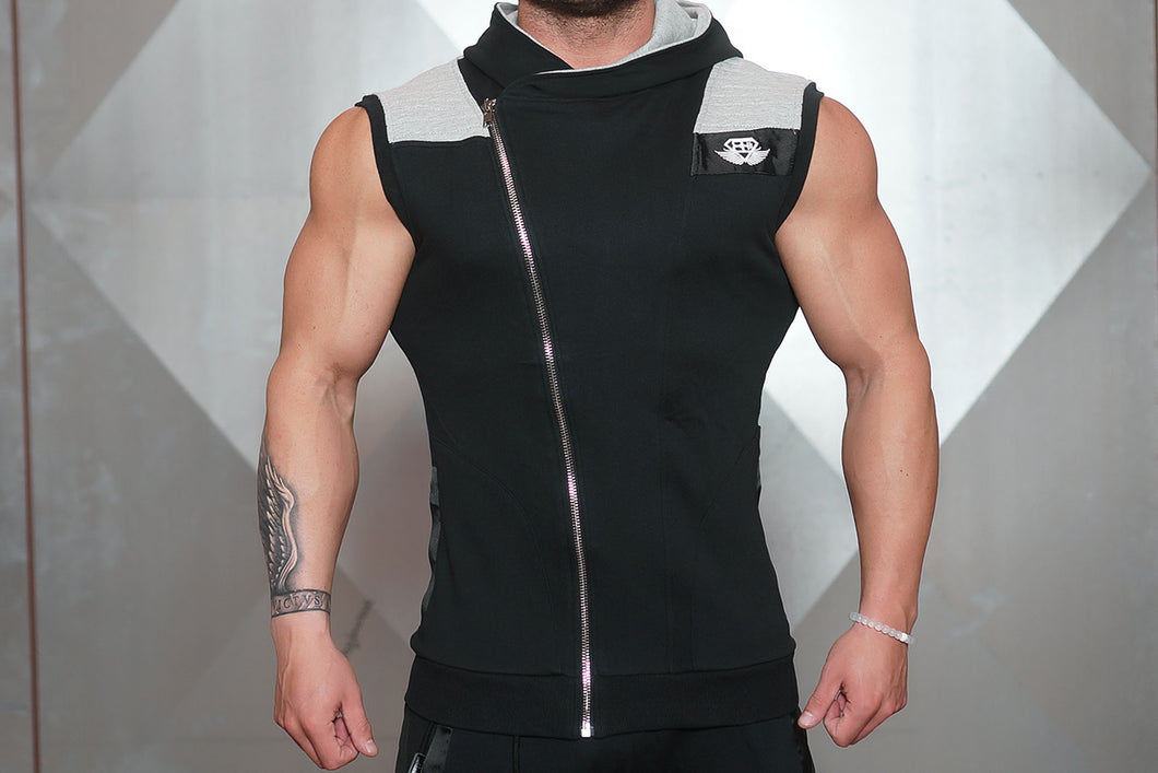 YUREI Sleeveless Vest – Black & Light Grey Accents - Vorderseite