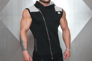 YUREI Sleeveless Vest – Black & Light Grey Accents - Seitlich