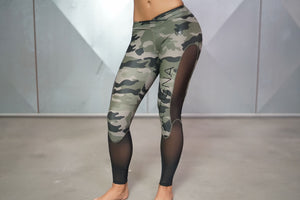 Body Engineers - ATHENA Camo Leggings – Olive Green & Black - Vorderseite