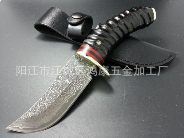 58HRC Damascus steel DKH36 Knives outdoor Survival Camping Hunting collect small straight knife cutting tool