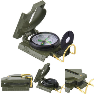 Foldable Military Mini Pocket Aluminum Safety Survival Tools Compass for Outdoor Hiking First Aid Kits Army Green Compass
