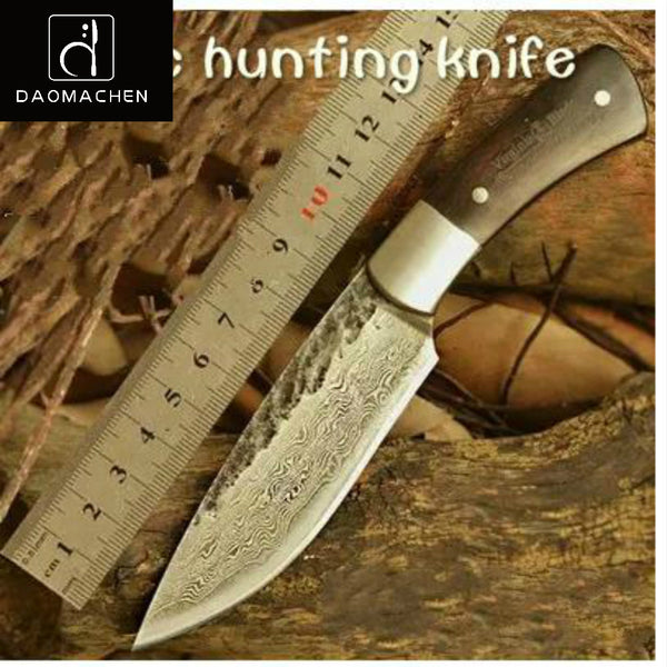 Free Shipping Hunting Knife Damascus steel Knife Nordic Hand Forged Knife Sharp Knives Pattern Steel with High Hardness