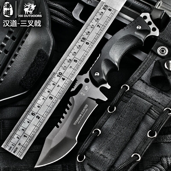 HX OUTDOORS Survival Knife Army Hunting 58hrc Hardness Straight Knives Essential tool For Self-defense Outdoor Dropshipping