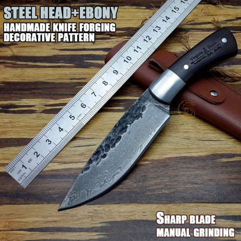 High quality, New High-carbon Steel Handmade Forged Damascus Hunting Knife Steel head + rare ebony ebony handle