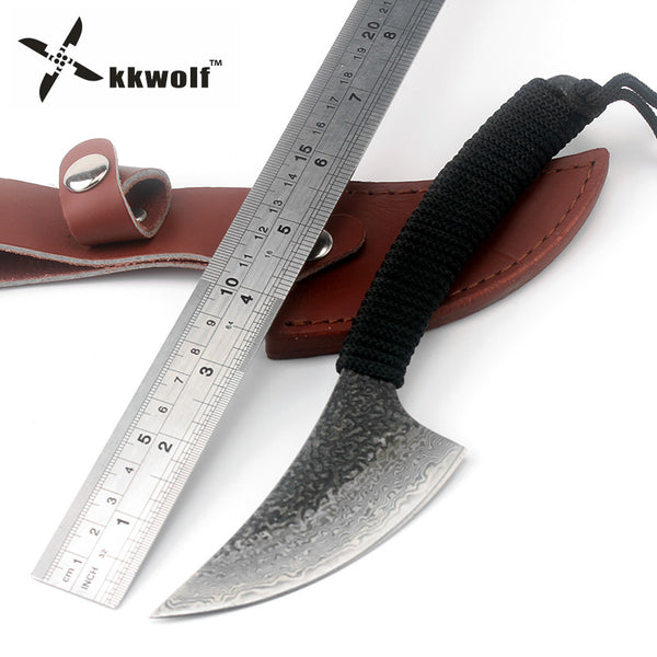 KKWOLF Damascus Steel Hunting knife Outdoor Camping Survival Knives Sharp Handmade fixed straight Tactics knife EDC tools