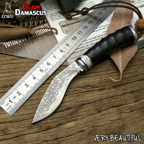 LCM66 Handmade forged Damascus steel hunting knife 60HRC Damascus Steel fixed knife Horns handle with Leather sheath Tools