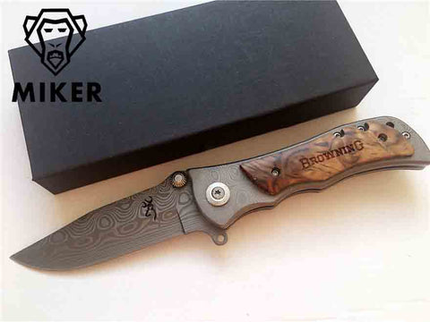 MIKER Browning 339 Folding Knife 440C Steel Damascus Pattern Outdoor Survival Camping Hunting Pocket Knife
