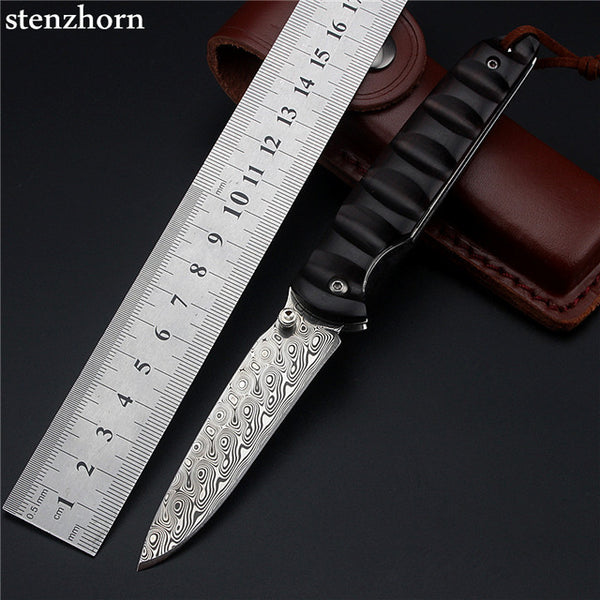 Stenzhorn 2017 New Tactical Knife Real Wood Swedish Powder Damascus Folding Knife With Fruit Hardness Wilderness Survival Tools