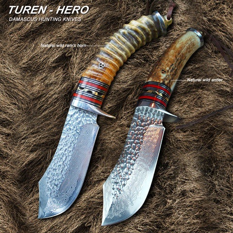 TUREN-Hero 60 HRC Handmade Damascus hunting straight knife wild ram's horn/antler handle with cowhide leather sheath