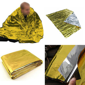 Waterproof Gold Color Aluminum Foil Emergency Blanket Windproof Outdoor First Aid Survival Rescue Curtain Camp Tent 210x140cm