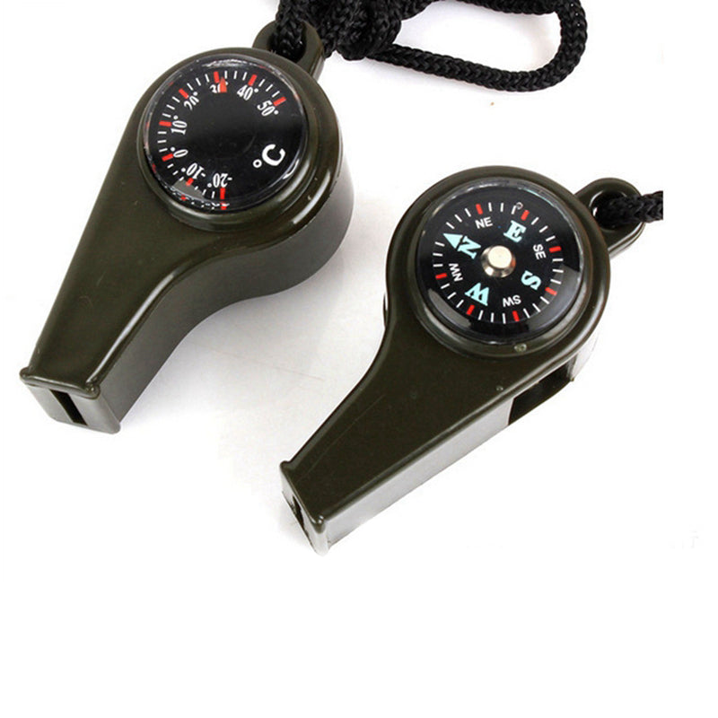 DSstyles 3 in 1 Hiking Camping Emergency Survival Gear Whistle Compass Thermometer  For Outdoor Emergency Gear travel kits