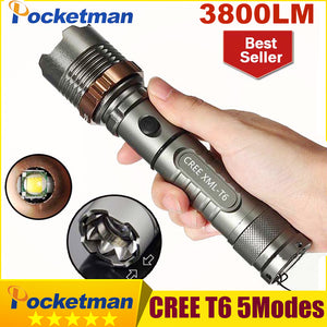 3800 Lumens CREE XM-L T6 5 modes LED Tactical Flashlight Torch Waterproof Lamp Torch Hunting Flash Light Lantern For Camping z93