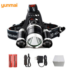 8000Lm Led lighting Head Lamp 3* T6 LED Headlamp Headlight Camping Fishing Light +2*18650 battery+Car EU/US/AU/UK charger